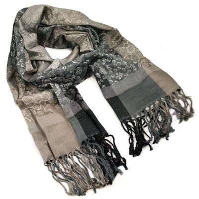 Classic warm scarf - grey and black - 1
