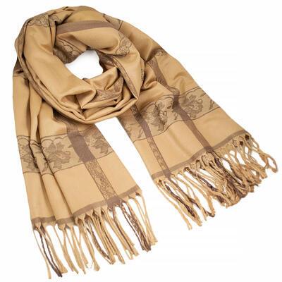 Classic winter scarf - beige - 1