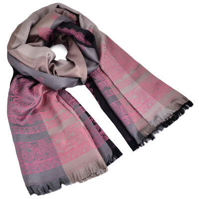 Classic cashmere scarf - grey and pink - 1