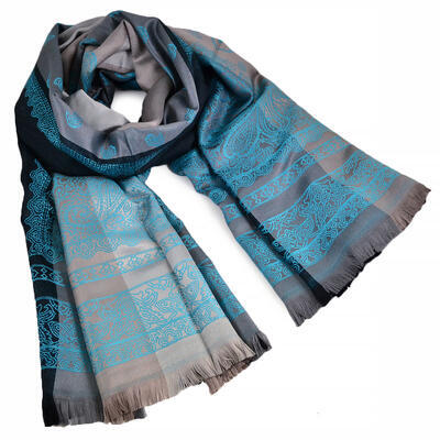 Classic cashmere scarf - grey and turquoise - 1