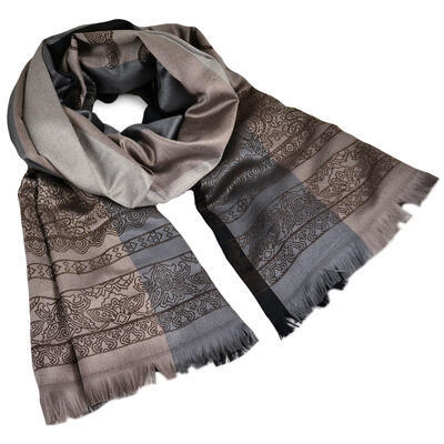 Classic cashmere scarf - grey and brown - 1