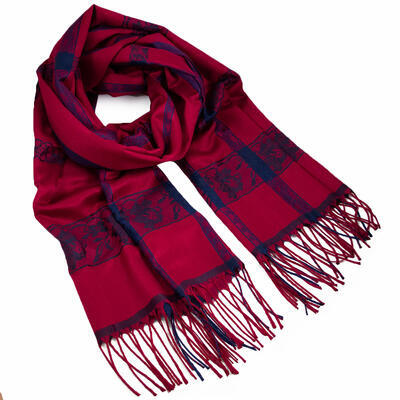 Classic winter scarf - dark red and blue - 1