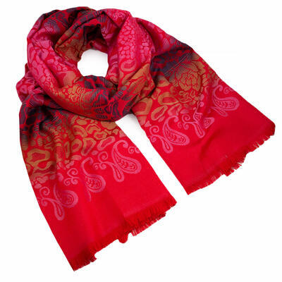 Classic warm scarf - red - 1