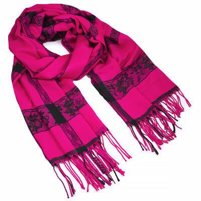 Classic winter scarf - fuchsia pink - 1