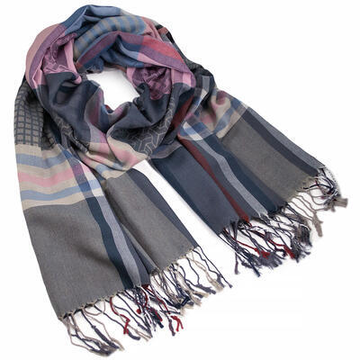 Classic warm scarf - blue and pink - 1