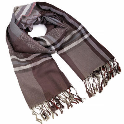 Classic warm scarf - brown and beige - 1