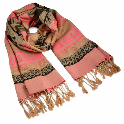 Classic cashmere scarf - brown and pink - 1