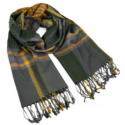 Classic warm scarf - green and mustard yellow - 1