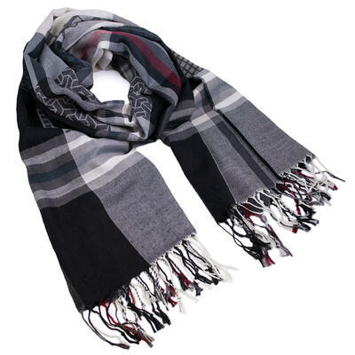 Classic warm scarf - black and white - 1
