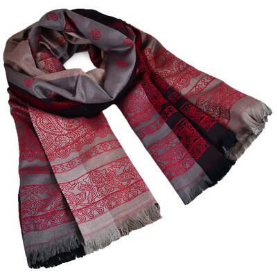 Classic cashmere scarf - grey and red - 1