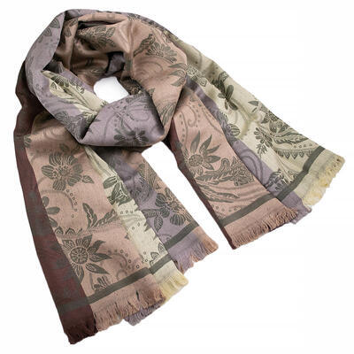 Classic warm double-sided scarf - grey and brown - 1
