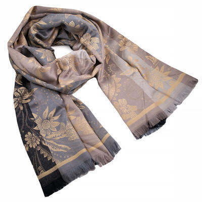 Classic warm double-sided scarf - grey and beige - 1