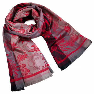 Classic warm double-sided scarf - grey and red - 1