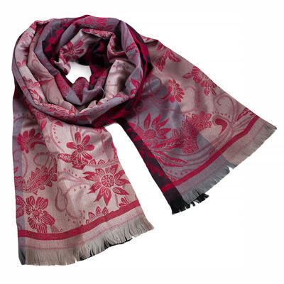Classic warm double-sided scarf - grey and dark red - 1