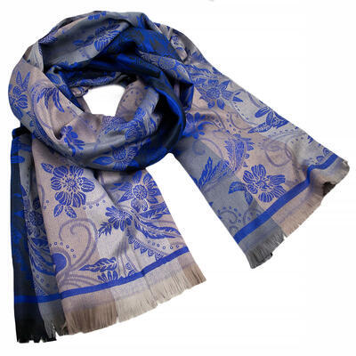 Classic warm double-sided scarf - grey and blue - 1
