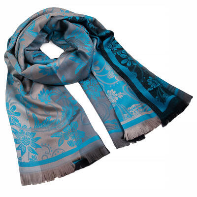 Classic warm double-sided scarf - grey and turquoise - 1