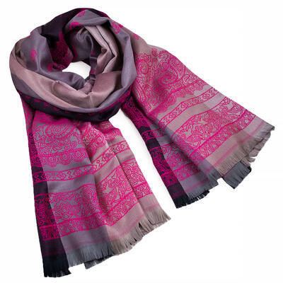 Classic warm double-sided scarf - grey and fuchsia pink - 1