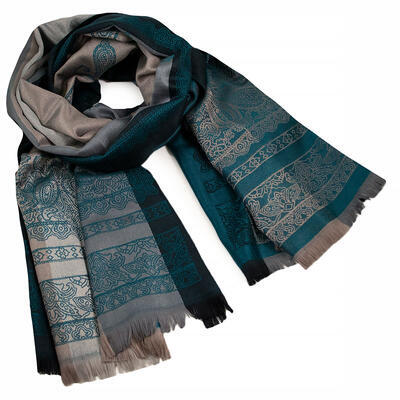 Classic warm double-sided scarf - grey and dark green - 1