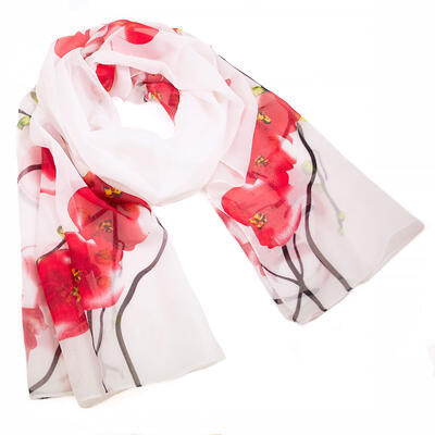 Classic women's scarf - white and red