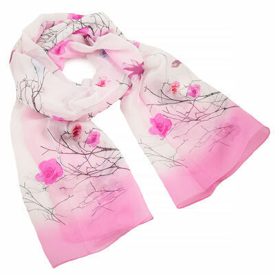 Classic women's scarf - white and pink