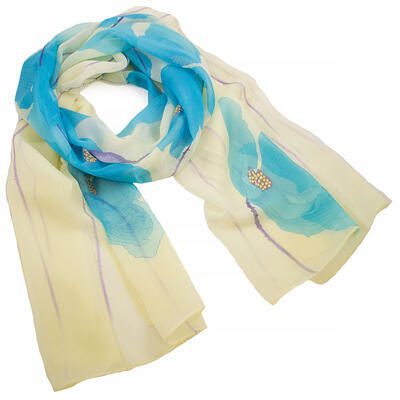 Classic women's scarf - yellow and light blue
