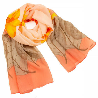 Classic women's scarf - brown and orange