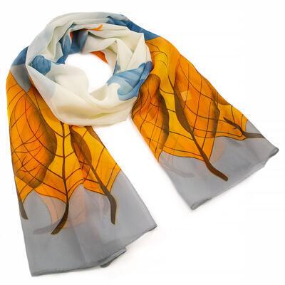 Classic women's scarf - grey and orange