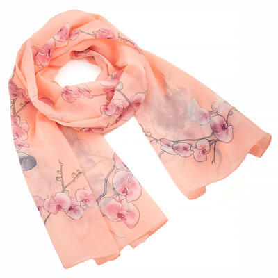 Classic women's scarf - peach with floral print