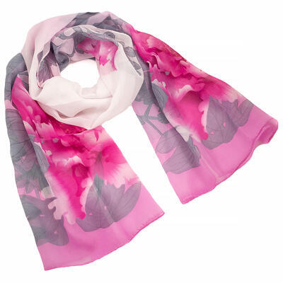 Classic women's scarf - pink and white