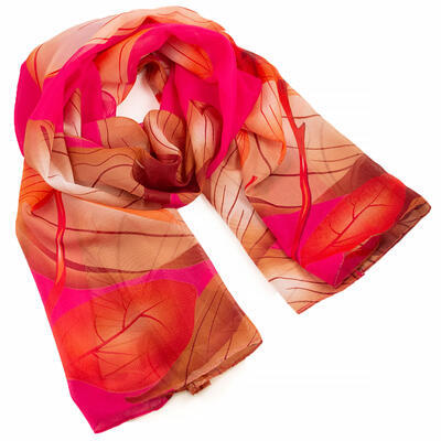Classic women's scarf - pink and brown