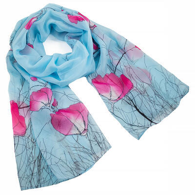 Classic women's scarf - light blue and pink