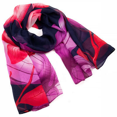 Classic women's scarf - dark blue and violet