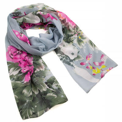 Classic women's scarf - grey and pink