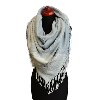 Blanket square scarf - white and grey - 1