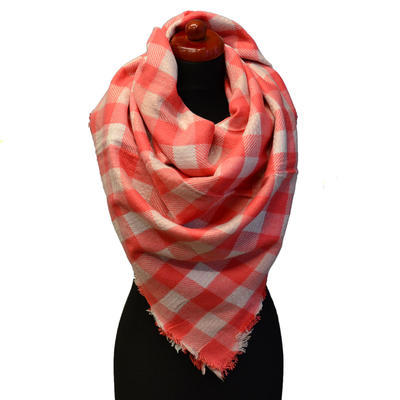 Blanket square scarf - coral and white - 1