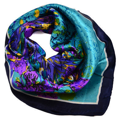 Small neckerchief 63sk004-32.33 - bluegreen and violet - 1