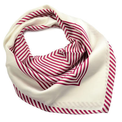 Square scarf - white and red - 1