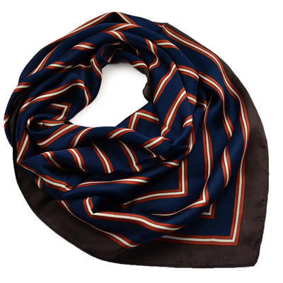 Square scarf - blue and brown - 1