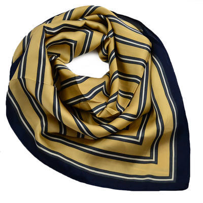 Square scarf - golden brown and blue - 1