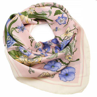 Square scarf- pink and light blue - 1