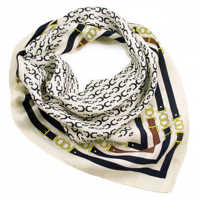 Square scarf - white and blue - 1