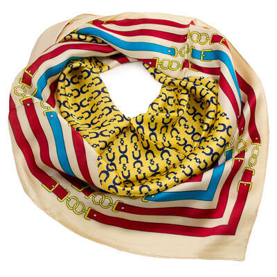 Square scarf - yellow and beige - 1