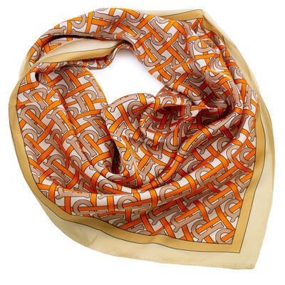 Square scarf - orange and beige - 1