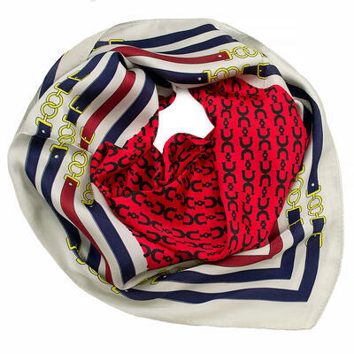 Square scarf- red and white - 1
