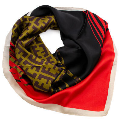 Square scarf- red and black - 1