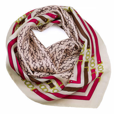 Square scarf- pink and white - 1