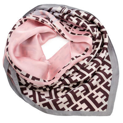 Square scarf- pink and brown - 1