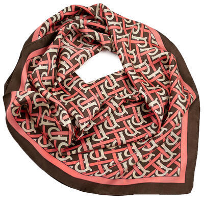Square scarf - brown and pink - 1