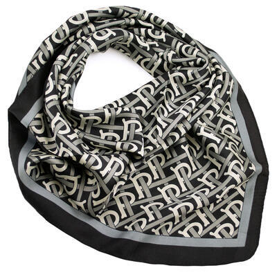 Square scarf- black and white - 1