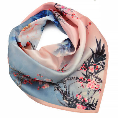Small neckerchief - pink and blue with floral print - 1